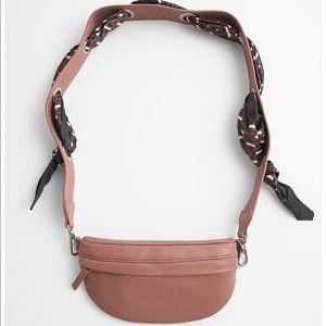 Zara leather scarf trim crossbody bag